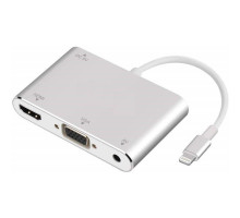 Адаптер Lightning to HDMI/VGA/Audio with Charging Port for Phone (Silver)