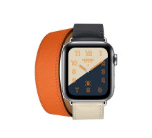 Apple Watch Series 4 Hermes GPS + LTE 40mm Steel c. w. Indigo/Craie/Orange Swift L. Double Tour (MU7K2)
