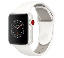 Apple Watch Edition Series 3 (GPS + Cellular) 38mm White Ceramic Case with Soft White/Pebble Sport Band (MQM32)