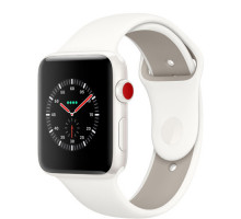 Apple Watch Edition Series 3 (GPS + Cellular) 38mm White Ceramic Case with Soft White/Pebble Sport Band (MQJY2)