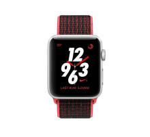 Apple Watch Nike+ Series 3 (GPS + Cellular) 38mm Silver Aluminum w. Bright Crimson/BlackSport L. (MQM92)