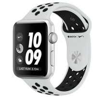Apple Watch Nike+ Series 3 GPS + Cellular 42mm Silver Aluminum w. Pure Platinum/BlackSport B. (MQLC2)