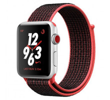 Apple Watch Nike+ Series 3 GPS + Cellular 42mm Silver Aluminum w. Bright Crimson/BlackSport L. (MQLE2)