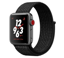 Apple Watch Nike+ Series 3 (GPS + Cellular) 42mm Space Gray Aluminum Case with Black/Pure Platinum Nike Sport Loop (MQMH2)