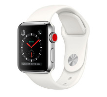 Apple Watch Series 3 GPS + Cellular 38mm Stainless Steel w. Soft White Sport B. (MQJV2)