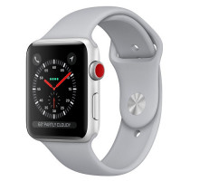 Apple Watch Series 3 (GPS + Cellular) 38mm Silver Aluminum Case with Fog Sport Band (MQKF2)