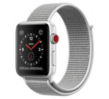 Apple Watch Series 3 (GPS + Cellular) 38mm Silver Aluminum Case with Seashell Sport Loop (MQKJ2)
