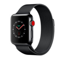 Apple Watch Series 3 GPS + Cellular 38mm Space Black Stainless Steel w. Space Black Milanese L. (MR1H2)