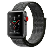 Apple Watch Series 3 GPS + Cellular 38mm Space Gray Aluminum w. Dark Olive Sport L. (MQJT2)