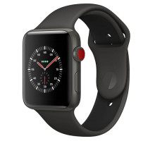 Apple Watch Series 3 (GPS + Cellular) 38mm Space Gray Aluminum Case with Gray Sport Band (MR2Y2)