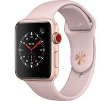 Apple Watch Series 3 GPS + Cellular 42mm Gold Aluminum w. Pink Sand Sport B. (MQK32)