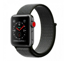 Apple Watch Series 3 (GPS + Cellular) 42mm Space Gray Aluminum Case with Dark Olive Sport Loop (MQKR2)
