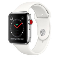 Apple Watch Series 3 GPS + Cellular 42mm Stainless Steel w. Soft White Sport B. (MQK82)