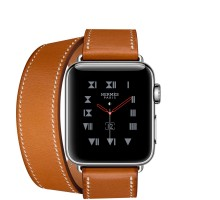 Apple Watch Hermes 38mm Series 3 GPS + Cellular Stainless Steel Case with Fauve Barenia Leather Double Tour (MQLJ2)