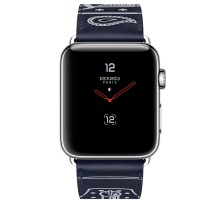 Apple Watch Hermes 38mm Series 3 GPS + Cellular Stainless Steel Case with Marine Gala Leather Single Tour Eperon d'Or (MQLN2)