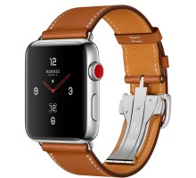 Apple Watch Series 4 Hermes GPS + LTE 44mm Steel c. w. Barenia L. Single Tour Deployment Buckle (MU752)