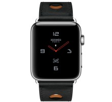 Apple Watch Hermes 42mm Series 3 GPS + Cellular Stainless Steel Case with Noir Gala Leather Single Tour Rallye (MQLU2)