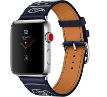 Apple Watch Hermes 42mm Series 3 GPS + Cellular Stainless Steel Case with Marine Gala Leather Single Tour Eperon d'Or (MQX62)