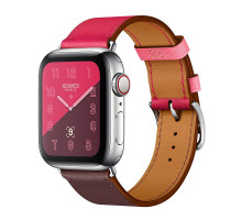 Apple Watch Hermes Series 4 GPS + LTE 40mm Steel w. Bordeaux/Rose Extreme/Rose Azalee Leather (MU702)