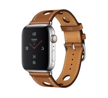 Apple Watch Hermes Series 4 GPS + LTE 44mm Steel w. Fauve Grained Barenia Leather (MU9D2)