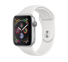 Apple Watch Series 4 GPS + LTE 44mm Silver Aluminum Case with White Sport Band (MTUU2)