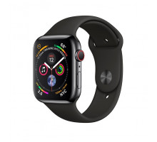 Apple Watch Series 4 GPS + LTE 44mm Black Steel w. Black Sport b. Black Steel (MTV52)