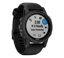 Garmin Fenix 5S Plus Sapphire White with Carrera Black Band (010-01987-21)