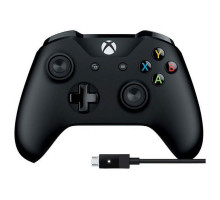 Беспроводной геймпад Microsoft Xbox One S Wireless Controller Black + USB Cable for Windows