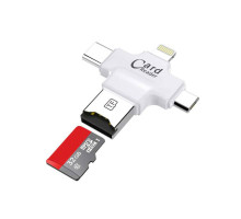 Адаптер iPhone  4 in 1 Type-c/Lightning/Micro USB/USB 2.0 and Memory Card Reader FAT32 exFAT