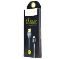 Hoco X7 Golden Jelly Knitted Lightning Cable (1.2m) Black