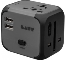 LAUT All-In-One Travel Adapter Black (LAUT_WA_BK)