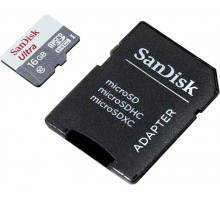 SanDisk Ultra microSDHC 16GB Class 10 UHS-I + SD Adapter (SDSQUNB-016G-GN3MA)