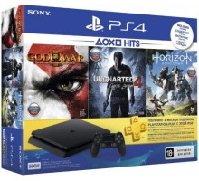Sony PlayStation 4 Slim 500GB Black + Horizon Zero Dawn + Uncharted 4 + God of War и подписка PS Plus