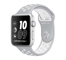 Apple Watch Nike+ 38mm Silver Aluminum Case with Silver/White Nike Sport Band (MNNQ2)
