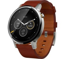 Motorola Moto 360 2nd Gen. Men's 46mm Steel - Silver/Cognac Leather (00904NARTL)