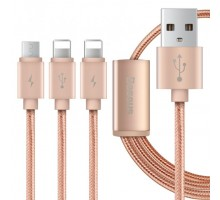 Baseus Portman Series 3-in-1 USB Cable Micro+Lightning 1.2M Luxury Rose Gold
