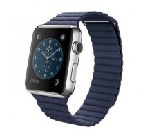 Apple Watch 42mm Stainless Steel Case with Midnight Blue Leather Loop (MJ332)