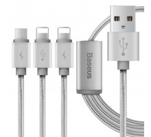 Baseus Portman Series 3-in-1 USB Cable Micro+Lightning 1.2M Luxury Silver