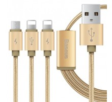 Baseus Portman Series 3-in-1 USB Cable Micro+Lightning 1.2M Luxury Gold
